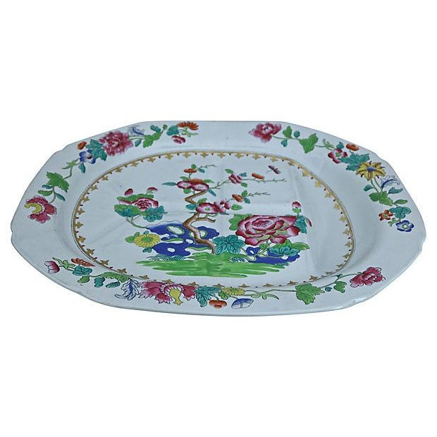 Antique Spode well and tree platter in Indian Tree pattern. There are trenches and a well in the platter to collect...