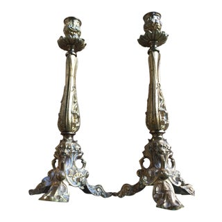 1950s Gold Tone Ornate Three Leg Candleholders - a Pair For Sale
