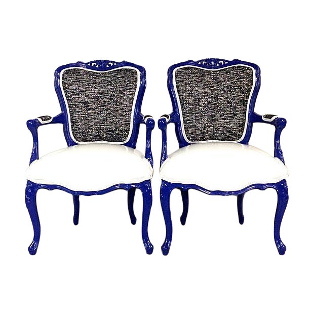 Vintage French-Style Lacquer Armchairs - Pair - Image 1 of 7