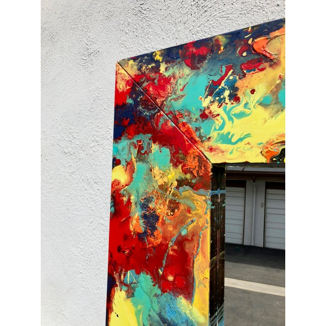 """2010s Abstract Freeform Painted Custom Full Length Mirror - 37""""X 75"""" For Sale - Image 5 of 11"""