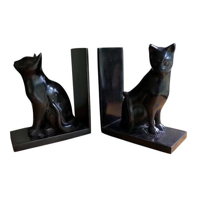 Vintage Book Ends Cats - Polished Stone, a Pair For Sale