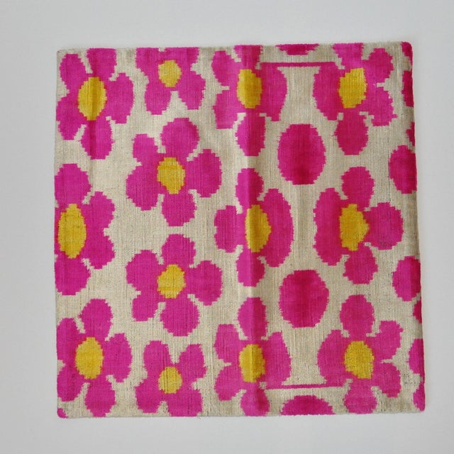 Pink Flower Power Throw Pillow For Sale - Image 4 of 5