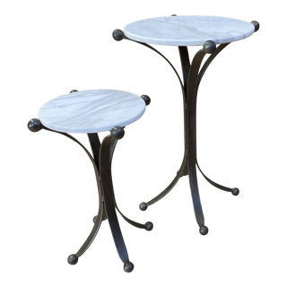 New Restoration Hardware Custom Design Jack Marble + Iron Side Tables - a Set For Sale