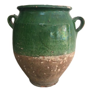 19th Century French Green Glazed Earthenware Confit Pot For Sale