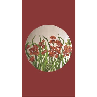 Tondi Fiori Collection Cymbidium Silver Circular Shaped Wallcovering On Red Terra Cotta For Sale