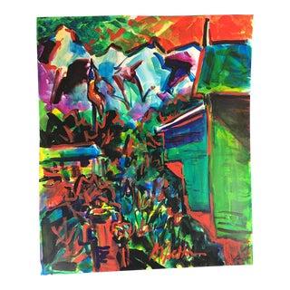 Original Colorful Gouache on Paper