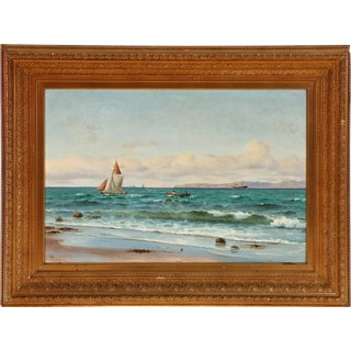 Early 20th Century Antique Holger Lübbers Coastal Painting For Sale