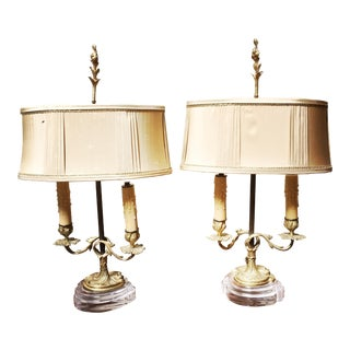 French Bronze Candlestick Lamp Bases with Acrylic Bases - a Pair For Sale