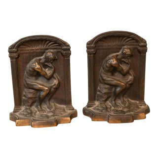Vintage Bronze Thinking Man Bookends - A Pair