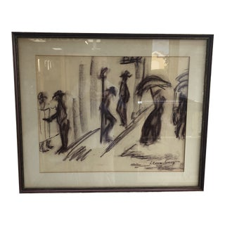 Modern Low Noon Pastel Drawing by Leona Gavigan 1964 For Sale