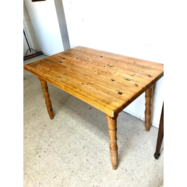 Vintage Farmhouse Small Pine Table /Island For Sale - Image 9 of 10