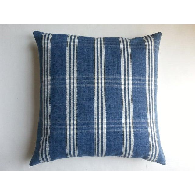Guatemalan Blue & White Plaid Pillows - A Pair - Image 3 of 4