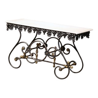 Polished Iron Butcher Pastry Table With Marble Top and Brass Finials From France
