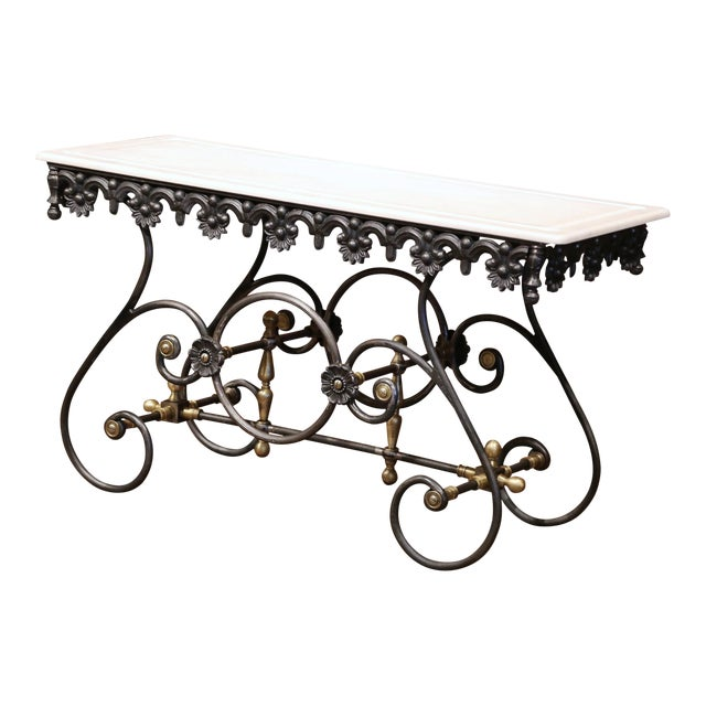 Polished Iron Butcher Pastry Table With Marble Top and Brass Finials From France For Sale