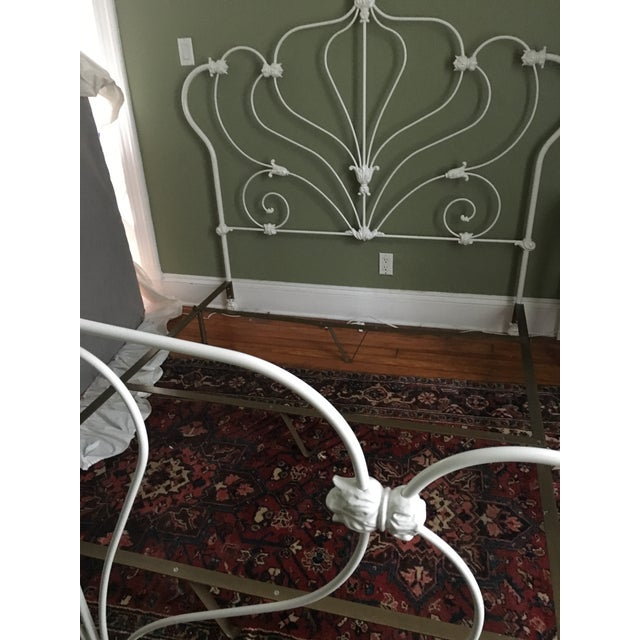 Antique White Rod Iron Double or Queen Bedframe - Image 3 of 7