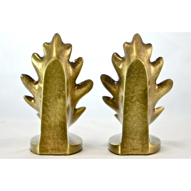 Brass Oak Leaf Bookends - A Pair - Image 5 of 8