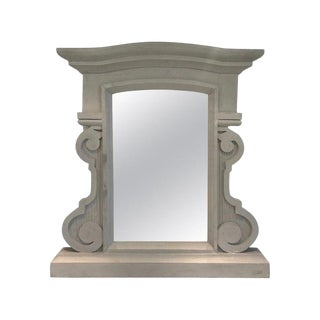Elegant Solid Wood Mirror in Grey Cerused Paint by Grange, 1950's For Sale