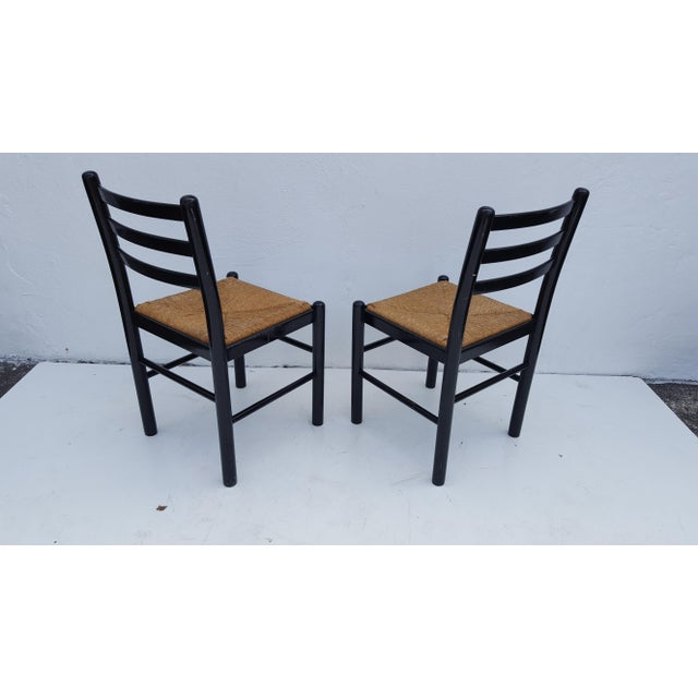 Italian Ladder Back Woven Rush Seats Dining Chairs Set Of ...