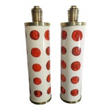 Image of Mid 20th Century Vintage Italian Fornasetti Red Cameo Lamps - a Pair For Sale