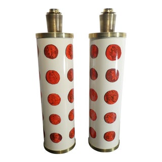 Mid 20th Century Vintage Italian Fornasetti Red Cameo Lamps - a Pair For Sale