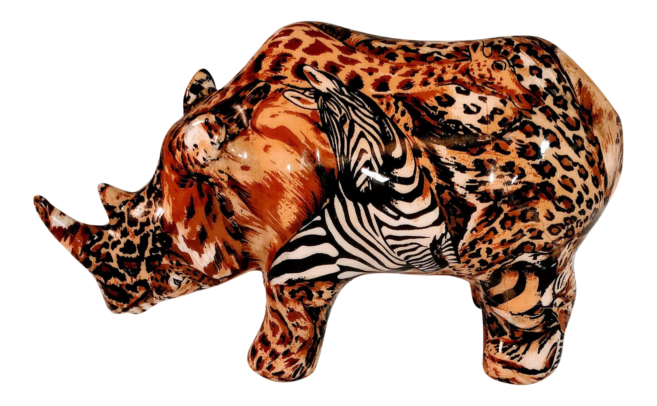 - Vintage African Rhino La Vie Safari Jungle Patchwork Animal Print
