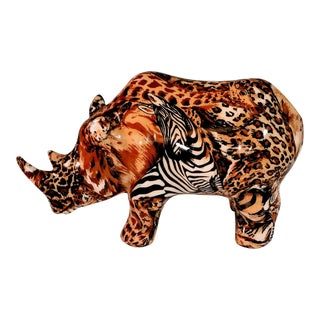 Vintage African Rhino La Vie Safari Jungle Patchwork Animal Print Porcelain Figurine For Sale