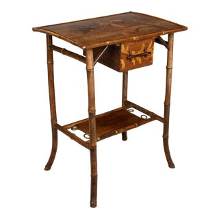 19th C. English Marquetry Bamboo Table For Sale
