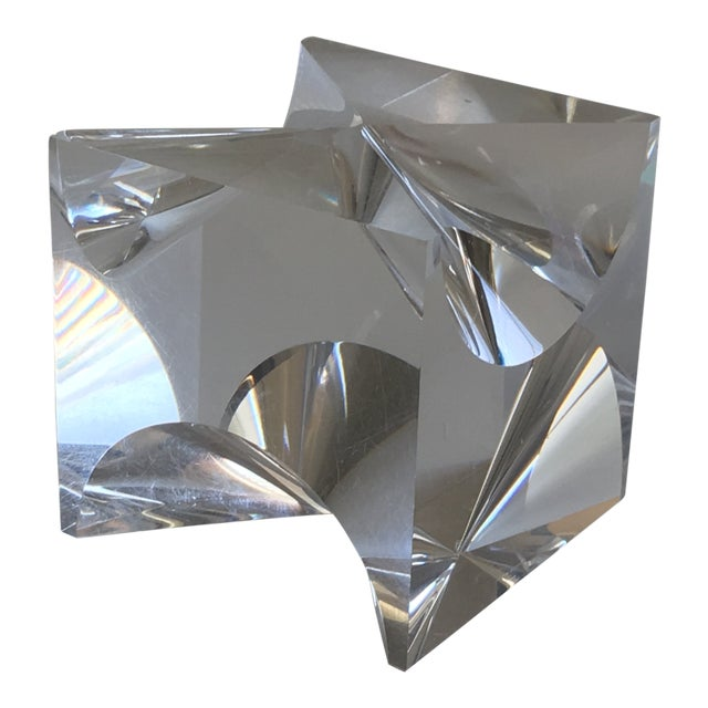 1960s Mid-Century Modern Alessio Tasca Lucite Cube Sculpture For Sale