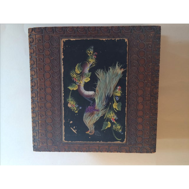 Vintage Carved Box With Peacock on Painted Lid - Image 3 of 8