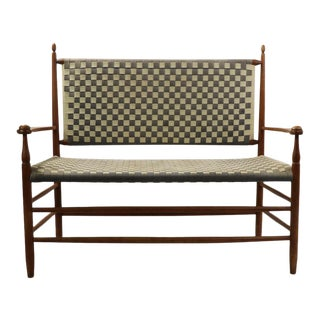 1980s Shaker Style Bench With Woven Seat and Back For Sale