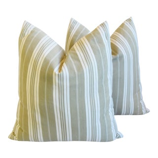 "1930s French Olive Ticking Stripe Feather/Down Pillows 24"" Square - Pair For Sale"