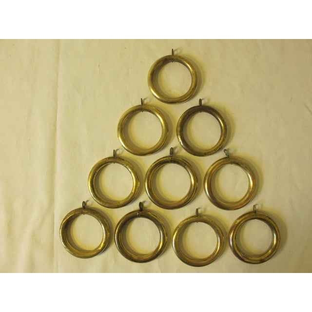 Boho Chic Antique Brass Curtain Rings - Set of 10 For Sale - Image 3 of 3