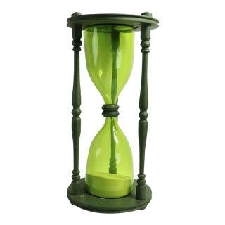 Blenko Hourglass Glass in Wood Frame For Sale