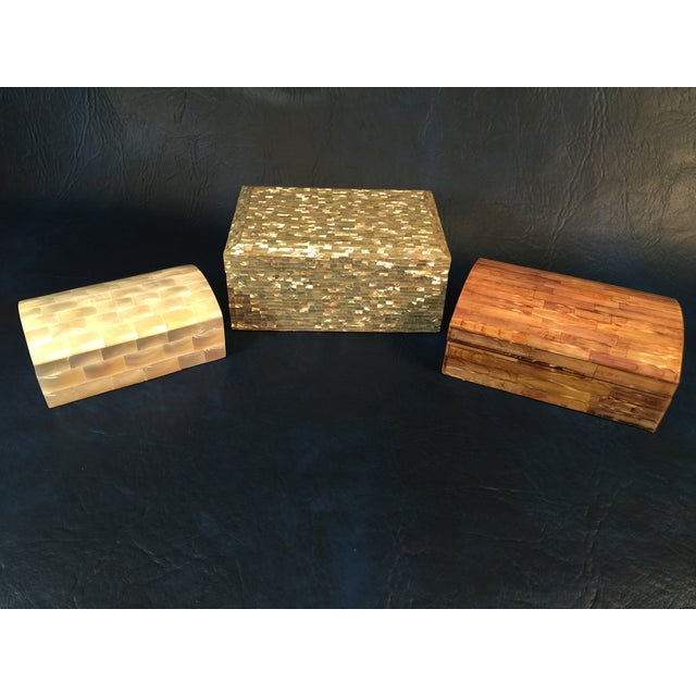 Tessellated Sea Shell Dresser Boxes - Set of 3 - Image 2 of 9