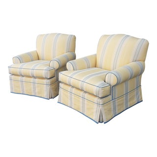 Fine Pair of Upholstered Living Room Club Armchairs For Sale