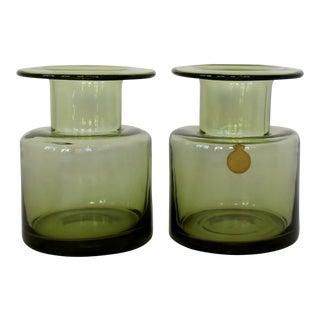 Per Lütken Olive Glass Vases, a Pair For Sale