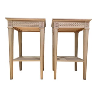 Gray Carved Gustavian Nightstands - A Pair For Sale