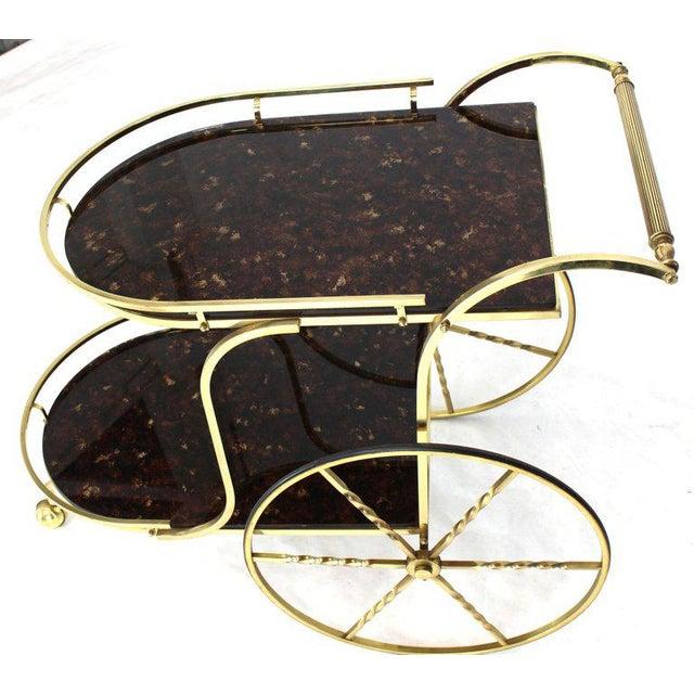 Mid-Century Modern 1970s Mid-Century Modern Brass Tortoise Finish Glass Bar Serving Cart For Sale - Image 3 of 8