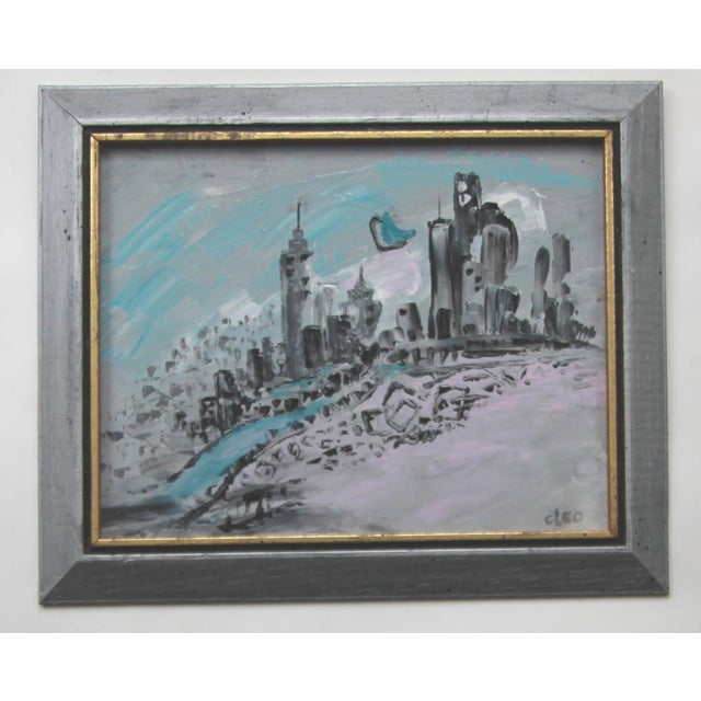 Art Deco Style Cityscape Painting - Image 3 of 3