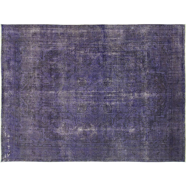 """Purple Overdyed Wool Rug - 9' 7"""" x 12' 9"""" - Image 1 of 10"""