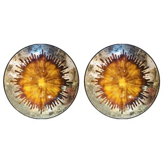Monumental Gilt Gold & Silver Glass Art Deco Sunburst Mirrors - a Pair For Sale