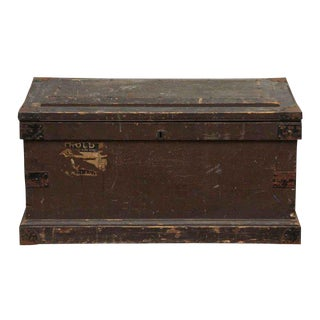 Large Wooden Brown Trunk For Sale