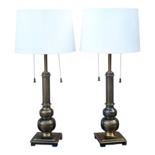 1950's Stiffel Brass Table Lamps - a Pair For Sale
