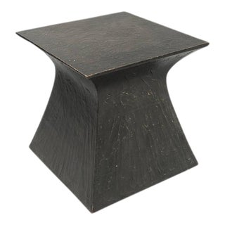 Patinated Steel Side Table For Sale
