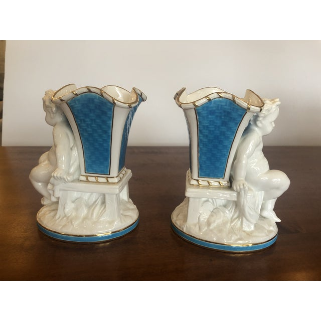 English Cherub Minton Caldwell Tiffany Blue and White Spill Vases -Pair For Sale - Image 3 of 11