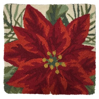 Needlepoint Holly Poinsettia Pillow Cover For Sale