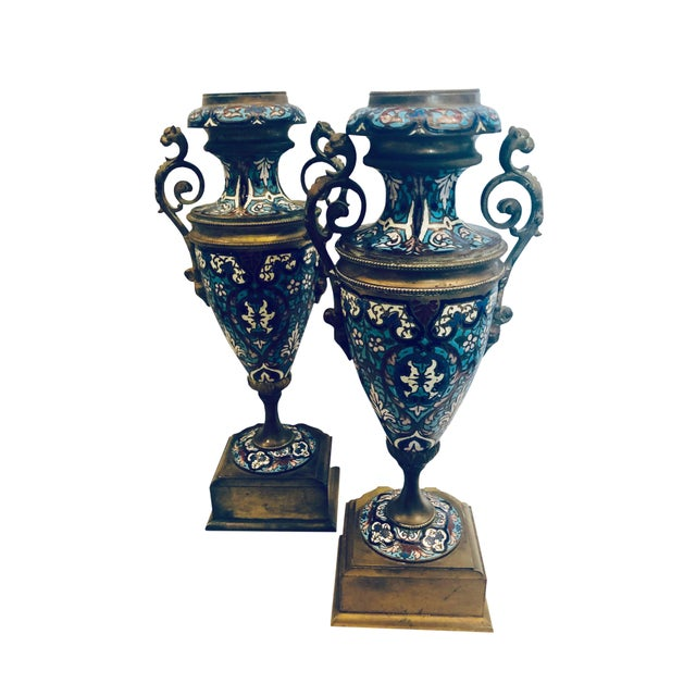 19th Century French Champleve Vases- a Pair For Sale - Image 9 of 10