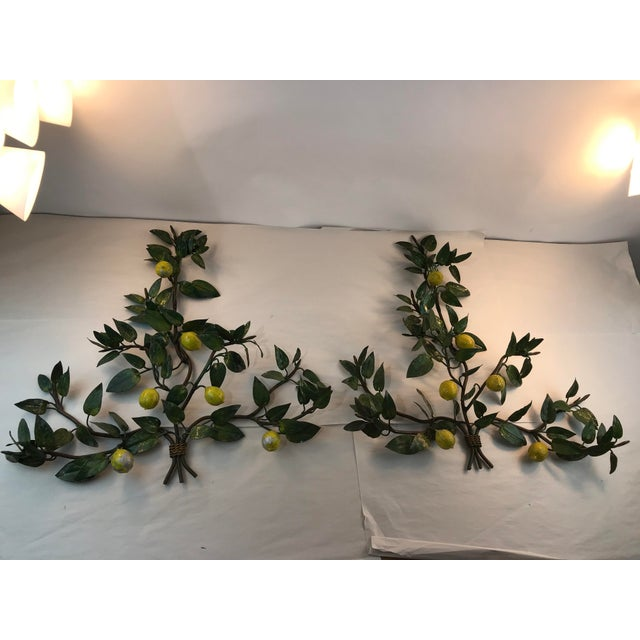 Italian Lemon Tole Candle Wall Sconces - a Pair For Sale - Image 13 of 13
