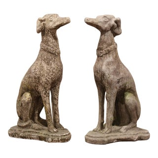 Vintage French Concrete Weathered Patinated Greyhound Dog Sculptures-a Pair For Sale