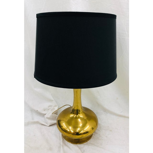 Stunning Vintage Mid Century Modern Solid Brass Lamp. Original finish fittings, wiring and frame. Beautiful shiny gold...